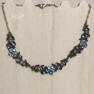 ⬇️ BOHO Silver & Blue Rhinestone Flower Necklace